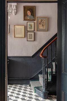 in the hallway (and on the stairs) — The Pink House - The colourfully-whipped stripy stair runner in the stunning Victorian hallway of Carol Maxwell max - Victorian Stairs, Victorian Terrace Interior, Victorian House Interiors, Victorian Homes, Victorian Terrace Hallway, Modern Victorian Decor, Edwardian Hallway, Victorian Townhouse, Edwardian House