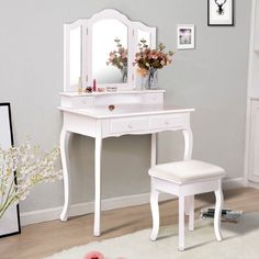 White Vanity Makeup Dressing Table Set W/Stool 4 Drawer&Mirror Jewelry Wood Desk White Dressing Tables, Makeup Dressing Table, Dressing Table With Stool, White Vanity, Vanity Set, Vanity Room, Contemporary Vanity, Jewelry Mirror, White Desks