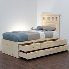 Extra Long Twin Storage Bed Pine Wood In 2019 Ideas