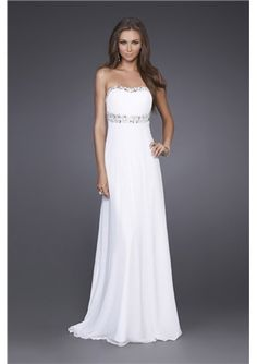 Pretty Sheath / Column Strapless Empire Beading Prom Dress