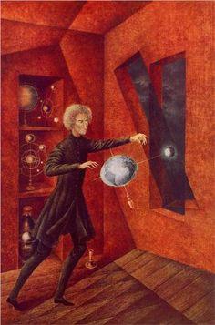 """Gravity"" by Remedios Varo (1908-1963) via Wikipaintings."
