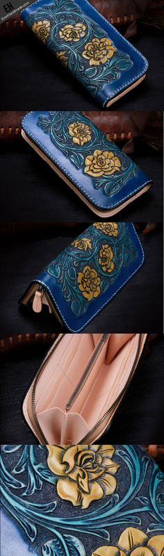 Handmade leather Blue flowers wallet leather zip women clutch Tooled