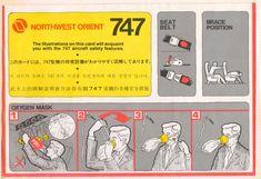 northwest orient boeing 747 safety card