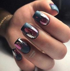 Make an original manicure for Valentine's Day - My Nails Get Nails, Hair And Nails, Gorgeous Nails, Pretty Nails, Manicure Gel, Shellac, Best Nail Art Designs, Dark Nail Designs, Dark Nails