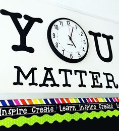 classroom decor created quite the eye-catching triple border combination (using our lime green dots), and the use of her classroom clock as a motivational component is just as adorable. Such a clean look! Thank you for using our Lime Polka Dots Border wit Classroom Clock, 5th Grade Classroom, Middle School Classroom, Classroom Design, Future Classroom, Classroom Organization, Classroom Management, Classroom Ideas, Classroom Wall Decor