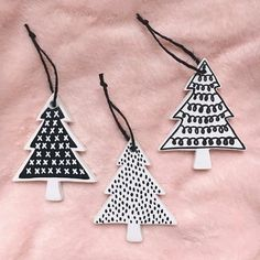 Excited to share this item from my shop: Modern Black & White Tree Ornament Set - Hand Painted Bisque Ceramic Christmas Trees - Minimalist Ornaments Ceramic Christmas Trees, Diy Christmas Ornaments, Homemade Christmas, Christmas Tree Decorations, Christmas Mantles, Vintage Ornaments, Vintage Santas, Merry Little Christmas, Simple Christmas