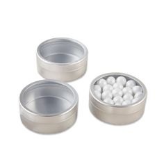 These personalized round candy tins are wedding favors that offer a peek at the candy inside. Celebrate sweet love with your favorite design and wedding date.