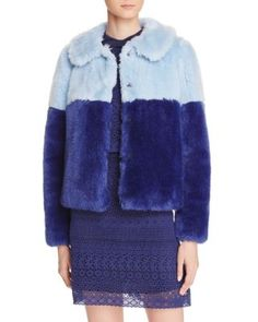 Alice + Olivia Damaris Color Block Faux Fur Coat   bloomingdales.com