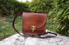 Chocolate brown Leather messenger bag by GalenLeather on Etsy, $39.00