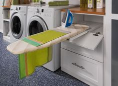 LAUNDRY ROOM – Another great design idea for a well-functioning laundry room. Laundry Room Pull-out Ironing Board contemporary laundry room - new york - transFORM The Art of Custom Storage Pull Out Ironing Board, Ironing Board Storage, Ironing Boards, Ironing Station, Laundry Room Organization, Laundry Room Design, Laundry Rooms, Garage Laundry, Laundry Drying