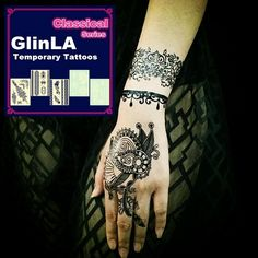 Glinla Classical Series Black Lace Body Art - Temporary Tattoos - Six sheets of tattoos with one random sheet thrown in for free! Over 20 different stylish tattoo shapes and designs including butterflies, leaves and flowers. / Andrew, Project Fellowship