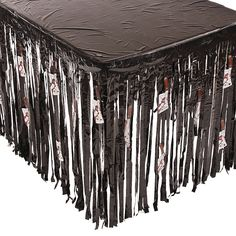Halloween Table Skirt with Butcher Knife Cutouts - OrientalTrading.com