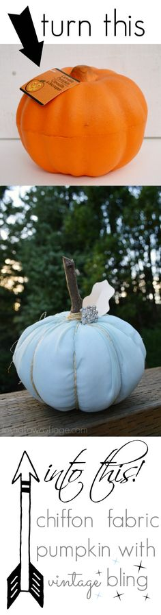 Turn a Dollar Tree foam pumpkin into a now-sew fabric pumpkin with chiffon and some vintage jewelry!