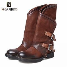 Mabaiwa 2017 New Style Genuine Leather Women Shoes Buckles Flats Boots Retro Mid-calf Botas Military Riding Boots Zapatos Mujer Low Heel Boots, Flat Boots, Low Heels, Heeled Boots, Riding Boots, Combat Boots, Leather Buckle, Real Leather, Belt Buckle