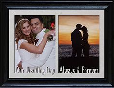 "OUR WEDDING DAY and ALWAYS & FOREVER ~ DOUBLE 5""x7"" Two Opening BLACK Frame ~ Holds two Portrait 5x7 Photos ~ Great Wedding Gift for the Bride & Groom!"