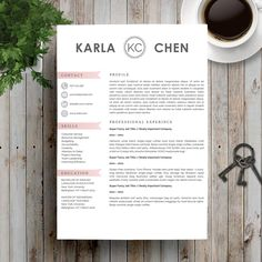 Modern Resume Template for Word and Pages (US Letter and A4) 1, 2 Page Resume Template, Icon Set, Cover Letter, Tips | Instant Download by Resumeonline on Etsy