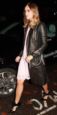 See How 12 Celebrities Style Their Leather Jackets - Suki Waterhouse from InStyle.com