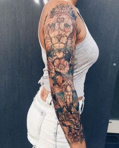 Brilliant sleeve lion and flower tattoos for women