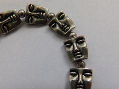 Unusual Bracelet with Mask / Face Links | eBay