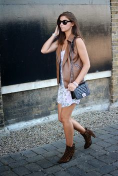 floral dress, summer style, leather gilet/sleeveless jacket, Chanel boy bag,  leopard boots London Street style, Fashion Blogger, EJSTYLE, Emma Hill