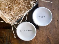 wedding ring holders ring dish Husband and Wife by PromisePottery