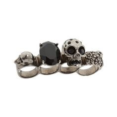 Alexander McQueen - 230732J160Y Knuckle Duster (Black Enamel) -... ($440) ❤ liked on Polyvore featuring jewelry, rings, accessories, anillos, alexander mcqueen, women's jewelry, enamel skull ring, flower rings, alexander mcqueen jewelry and long rings