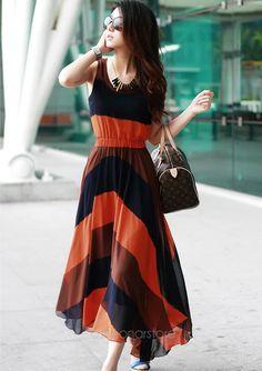 summer fashions for women over 50 | 50 Hot!!Summer Fashion Bohemian Women Chiffon Patchwork Long Pleated ...