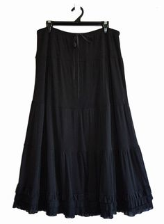 Free Postage (Size 20) Katies Maxi Skirt - Black Gothic Tiered Skirt with Frills