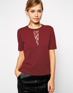 Enlarge ASOS Textured Top with Lace Insert