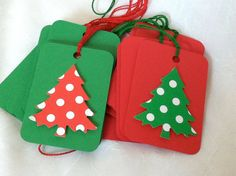 Christmas tags red green polka dot set of 10 by LeahsHeart on Etsy, $5.00