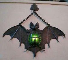 Bat light - make spiders, too, to hang on cemetery gate columns Halloween Fall Halloween, Halloween Crafts, Homemade Halloween Decorations, Halloween Ideas, Bat Light, Lampe Metal, Goth Home, Gothic Furniture, Gothic House