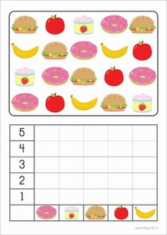 Kindergarten Math Centers - Back to School. 116 pages. A page from the unit: Count and Graph