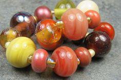 Into the Fire Lampwork Art Beads ~Autunno~ Artist handmade glass beads SRA