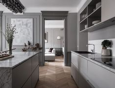 Indian Home Interior Inside a Refined Stockholm Apartment in Shades of Grey - NordicDesign.Indian Home Interior Inside a Refined Stockholm Apartment in Shades of Grey - NordicDesign Retro Home Decor, Home Decor Kitchen, Cheap Home Decor, Kitchen Interior, Kitchen Design, Kitchen Hacks, Indian Home Interior, Minimalist Home Interior, Gray Interior