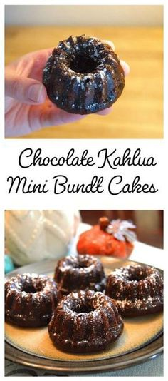 Chocolate Kahlua Mini Bundt Cake Recipe This recipe was used to make mini bundt cakes, but you can easily bake cupcakes or a regular bundt cake with the instructions. The finished product is slightly gooey and addictive! Mini Bunt Cake Recipes, Easy Cake Recipes, Mini Desserts, Just Desserts, Mini Bundt Cake, Plated Desserts, Mini Cake Recipe For Two, Mini Cupcakes, Mini Dessert Recipes