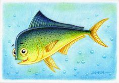 ILUSTRAÇÃO E ARTE - PEIXE DE ÁGUA SALGADA EM CARTOON - SALTWATER FISH - DOURADO DO MAR - ANO DE 2012