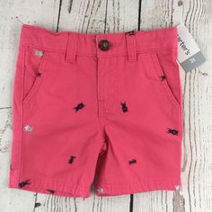 NWT Carters Boys Pink With Bugs Shorts Flat Front Adjustable Waist - Size 3T #Carters #Shorts #Everyday
