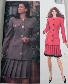 1990s Jacket and Pleated Skirt sewing pattern by retroactivefuture, $9.00
