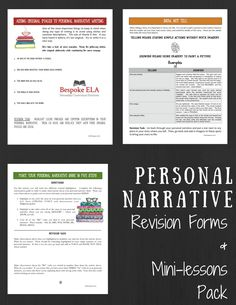 Personal Narrative/ Memoir Revision Forms & Mini-lessonsThe Bespoke ELA Classroom