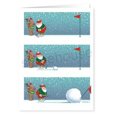 """Santa loves to golf!  Even in the snow!  But he did not count on the """"snowball"""" effect occurring!  Funny Snowball Putting Christmas Card!  Merry Christmas from Santa on the putting green!  Seasons Greetings!"""