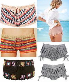 This is my next goal! I really want to learn how to do these! They are so adorable even though I'm very modest when it comes to shorts lol still very cool and would probably be a huge hit with my clothing business! Beach Crochet, Cute Crochet, Crochet Bikini, Crochet Yarn, Crochet Pants, Crochet Skirts, Crochet Clothes, Crochet Woman, Crochet Fashion