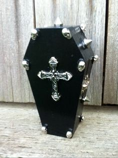 Black Coffin Box with Silver Skulls Silver Spikes by XxAubriexX