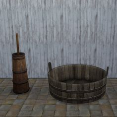 I saw the washtub as being more for doing medieval laundry than bathing hence it's a decorative object, but it's probably big enough work as a bath should anyone want to convert it. Wooden Toy Chest, Wooden Toys, Witcher Armor, Witcher 2, Craftsman Decor, Sims Building, Pile Of Books, Wash Tubs, Pottery Wheel