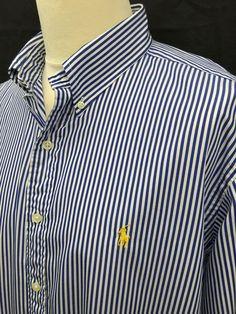 £35  RalphLauren  Mens  Shirt XXL Classic Fit Navy White Bengal  Striped  Cotton  menswear  mensfashion  mensstyle  macmenswear 6f9ad5db5f5