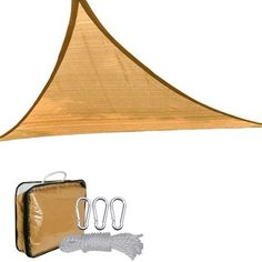 16.5' Triangle Outdoor Sun Shade Sail Canopy Desert Sand . $97.99. Air circulation possible - Specially knitted high-density polyethylene fabric.. Environmental temperature below the shading sail can be lowered up 6.5 degrees centigrade!. Totally portable - PVC carrying bag included.. Easy installation- With mounted tension rings at the tip of corner, can be easily fixed onto or detached from existing structures.. Ideal for deck, garden, patio, backyard, entryway, pool & children...