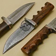 Damascus Skinner Knife Custom Handmade Damascus Steel Hunting Knife with Rose Wood Handle 859