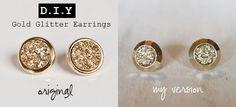 DIY: Gold Glitter Earrings by alihenrie: The hardest part is waiting for the glue to dry! #DIY #Glitter_Earrings