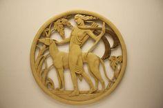 Art Deco Revival Plaster Medallion of Diana the Huntress image 2