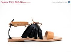 20% OFF Tan and Black Leather Sandals Women's by TheMerakiCompany