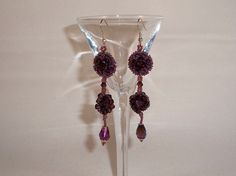 Purple and Crystal flower drop earrings by Dare2BUbyJ on Etsy, $12.50 ON SALE NOW!